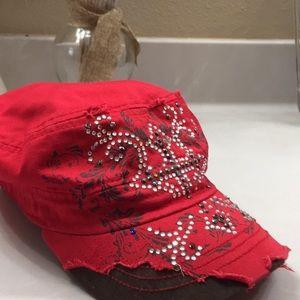 WOMEN'S RED DISTRESSED JEWELED CROSS CAP